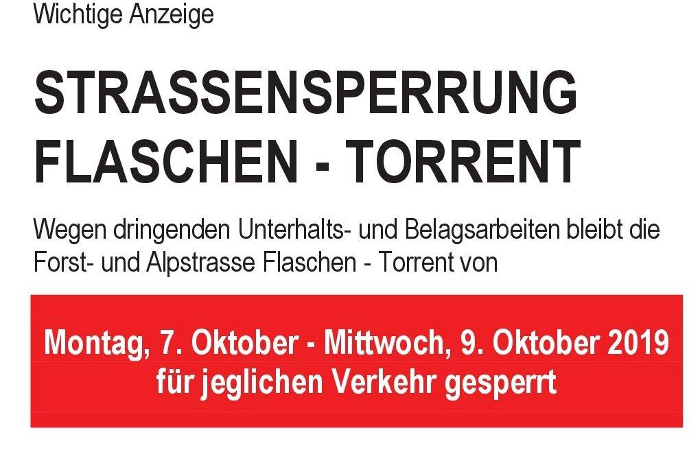 Strasse Flaschen – Torrent wird nächste Woche für 3 Tage gesperrt
