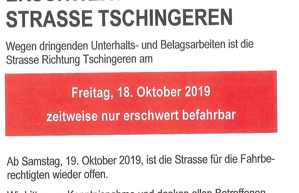 Achtung: Dringende Belagsarbeiten am Freitag, 18. Oktober